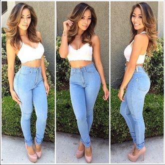 jeans high waisted jeans tight fitted light blue jeans blouse