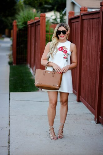 all dolled up blogger dress sunglasses bag shoes white dress floral dress mini dress brown bag summer dress lace up heels