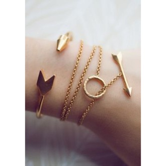 jewels indie boho hippie jewelery bows arrows gold bracelets cute style to die for