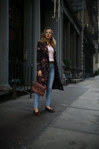 memorandum blogger coat sweater shoes belt bag fall outfits loafers brown bag fall coat floral coat