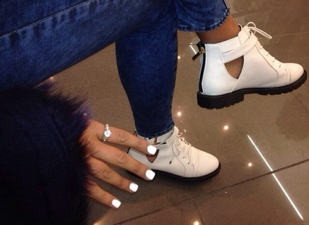 shoes fv00 fashionvintage ankle boots low boots cut out ankle boots white boots white shoes