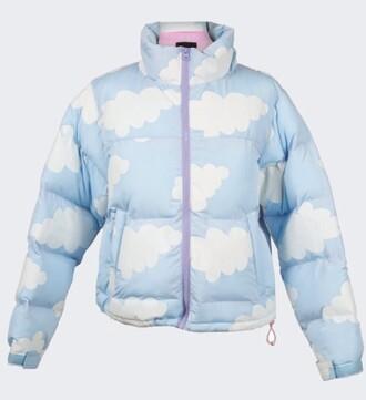 jacket winter jacket down jacket clouds light blue blue white kawaii cute zip pink purple instagram tumblr pintere