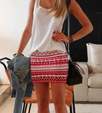 skirt tribal skirt red skirt mini skirt