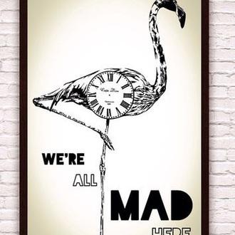 alice in wonderland flamingo frame poster