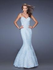 dress,blue dress,fishtail dress,lace