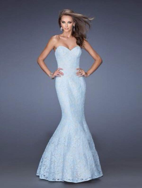 dress blue dress fishtail dress lace