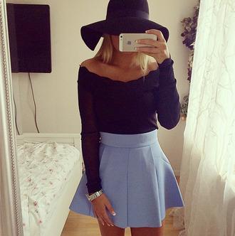 top jeans skirt blue baby blue skater skirt hat blouse