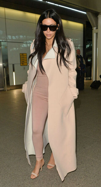 coat winter outfits nude coat kim kardashian