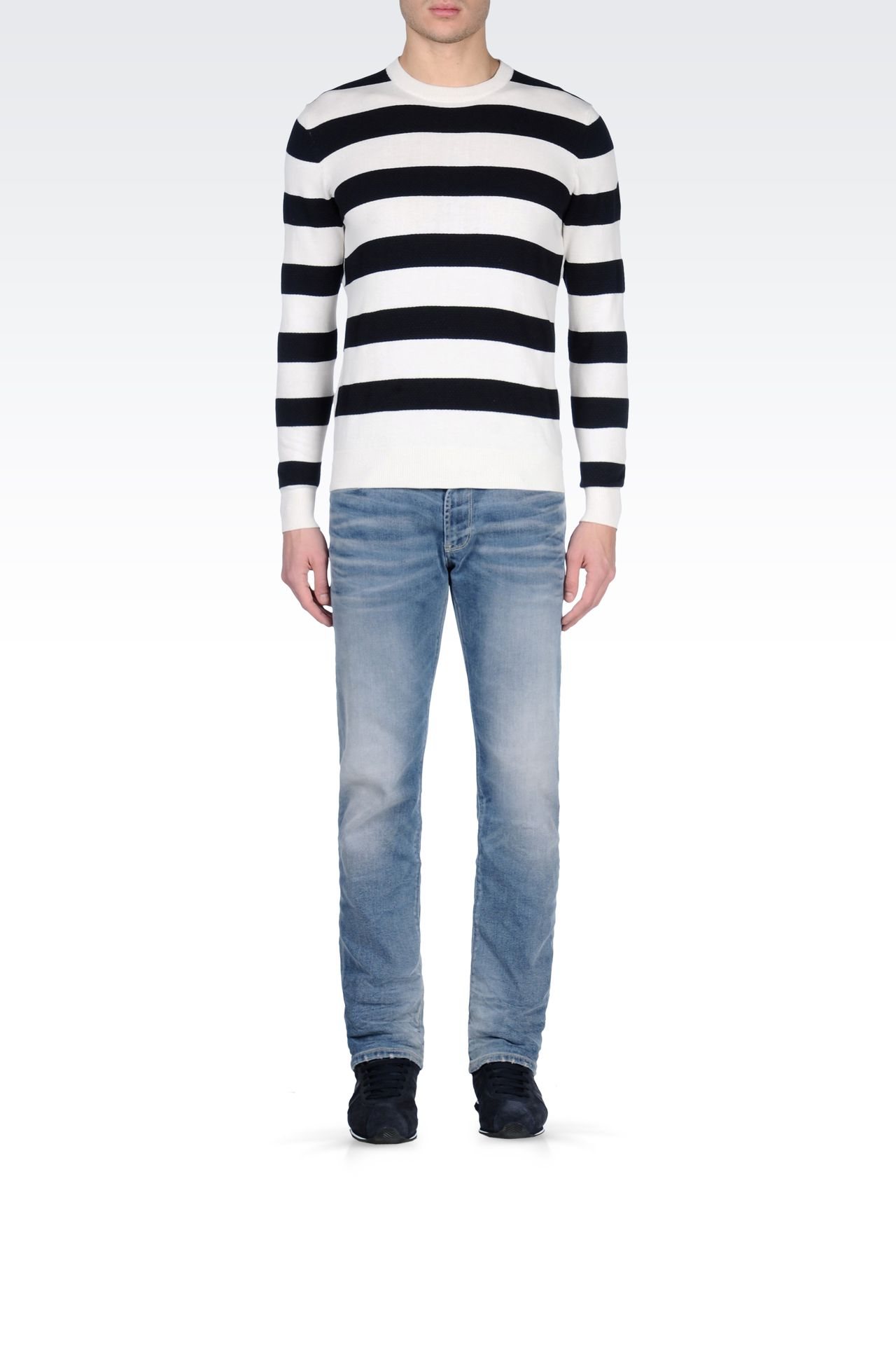 Armani Jeans Men Crewneck Sweater - STRIPED CREW NECK SWEATER Armani Jeans Official Online Store