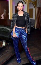 pants,sequins,sequin pants,alessandra ambrosio,model off-duty,top,jacket,sweatpants