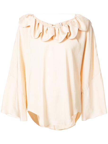 NINA RICCI top ruffle women spandex nude silk