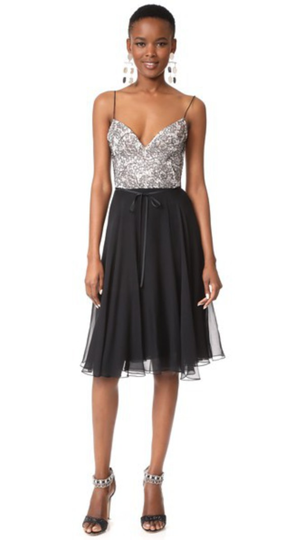 Monique Lhuillier Camisole Dress in noir / white