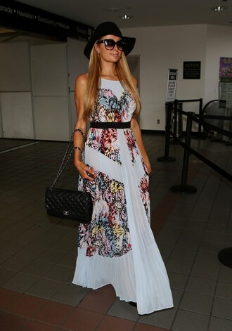 dress paris hilton sunglasses hat maxi dress