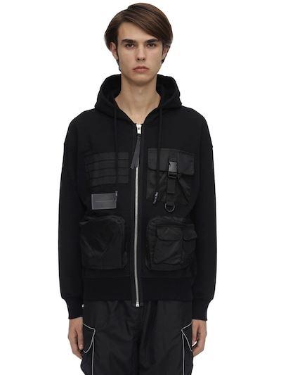 ZIQ & YONI Zip-up Cotton Jersey Sweatshirt Hoodie Black