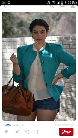 jacket turquoise collarless blazer bag blouse