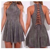 dress,suede,lace up,grey,suede dress,skater dress,skater skirt,velvet,velvet dress,tie dye,criss cross,cute,cute outfits,cute dress,date outfit,instagram,pretty,leather,leather dress,sexy gray dress,short dress,soft