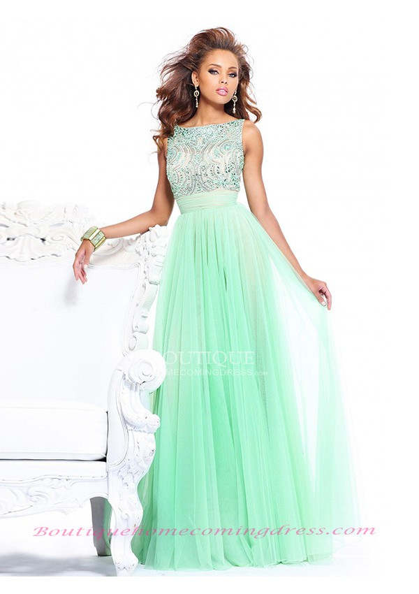 Tulle bow sleeveless 2015 prom dress