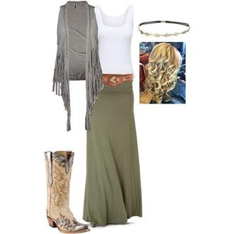 skirt green maxi skirt green skirt white tank top grey jacket shoes belt
