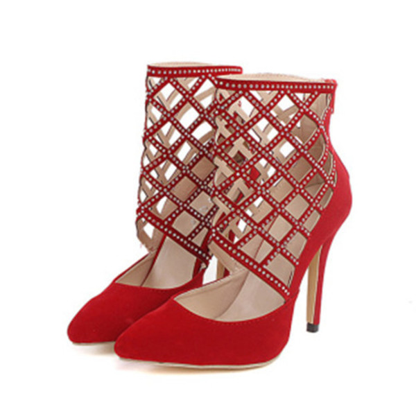 shoes rhinestones embellished hollow out women stilettos heels pumps red