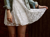 mini,white dress,dress,clothes,lace,white,floral,seetrough,short,cute