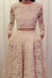 t-shirt,skirt,dress,prom,pink,lace detail,vintage,prom dress,crop 2piece lace white dress,blouse,shirt,cute dress,lace,skirt and matching top,covered in lace,long sleeves,long skirt,flowy,similar outfits,two-piece,nude,elegant,elegant dress,white dress,white,crop tops,bustier crop top,wedding dress,high waisted skirt,elegant outfit,elegant long dresses,haute couture,hipster wedding,wedding clothes,cropped,clothes,white skirt,lace skirt,lace wedding two piece dress,top,two piece dress set,jumpsuit