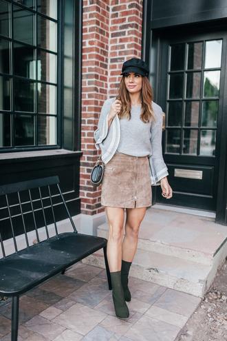 sweater hat tumblr knit knitted sweater grey sweater skirt mini skirt suede skirt zip zipped skirt boots green boots sock boots fisherman cap