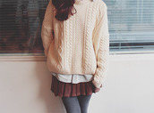 sweater,clothes,skirt,dress,shirt,white,creme colored,dark red,layered,girly,grey,winter outfits,fall outfits,pretty