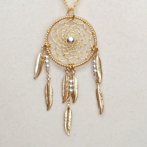 Dream Catcher Silver & Gold Dreamcatcher Necklace by BBJdesign