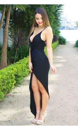 black maxi dress plunge v neck www.ustrendy.com asymmetrical spaghetti straps twist front dress