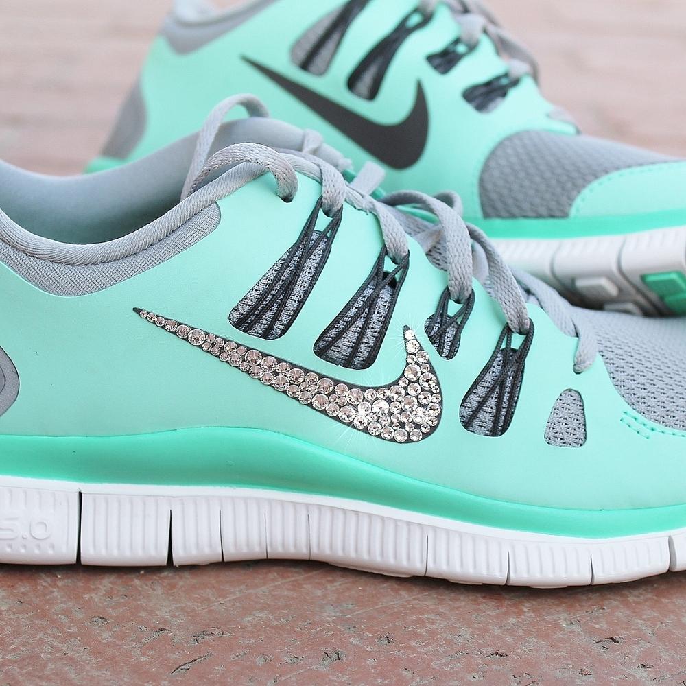 Femmes Nike Free 5.0 W / Strass Swarovski - Lueur Verte / Paillettes Fix
