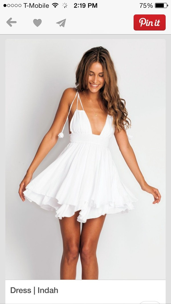 dress white deep v wide band at waist