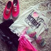 swimwear,shirt,tank top,shorts,shoes,pink,victoria's secret,hot pants,vans,t-shirt,top
