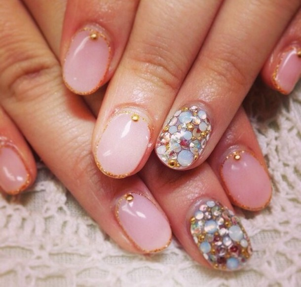 Nail polish: sweater baby pink cream nails cute, nail stickers, nail ...