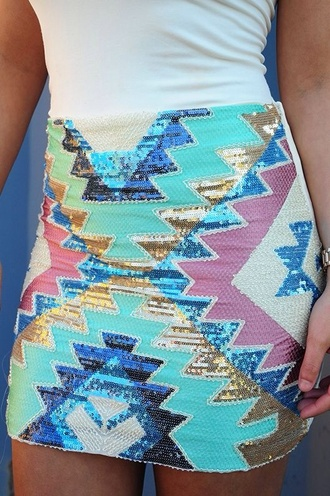 skirt aztec miniskirt mint sequence sequence skirt pretty