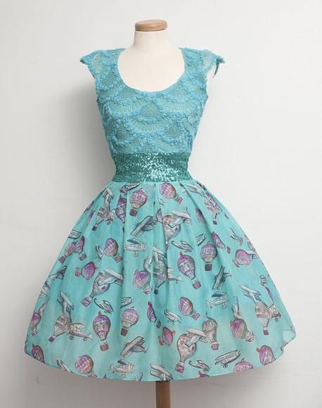 cute dress kfashion ulzzang fashion turquoise sequins vintage dress plane air balloons pinup dress vintage dres vintage