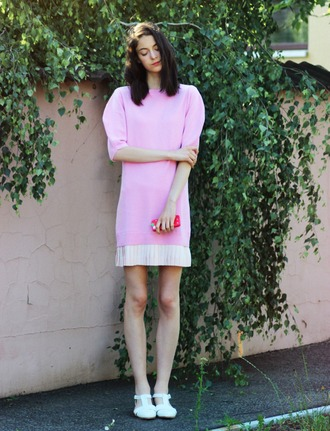 mes memos blogger pink dress asos flats