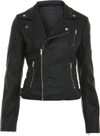Black Stitch Detail Biker Jacket - Miss Selfridge