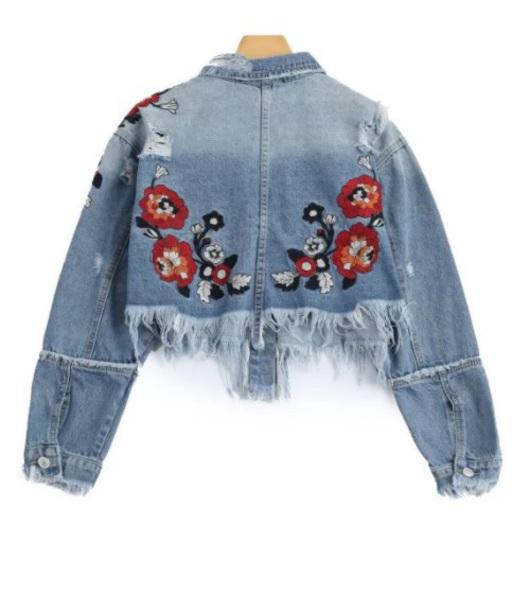 jacket embroidered girly denim denim jacket floral