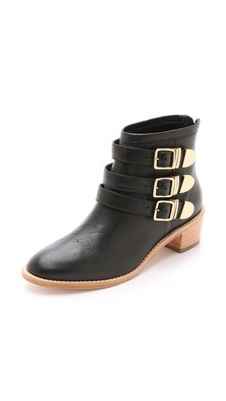 booties gold black shoes