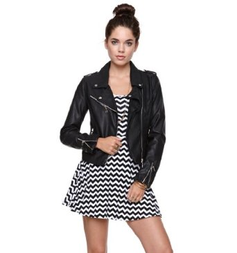 com: Lira Women's Faux Leather Moto Jacket: Clothing