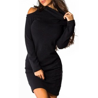 dress black warm fall outfits turtleneck chic turtleneck long sleeve pure color cut out bodycon dress for women long sleeves fashion style rose wholesale dec rose wholesale-dec