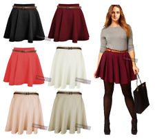 New Womens High Waisted Stretchy Coloured Flared Skater Flippy Flared Skirt 8-14 | eBay