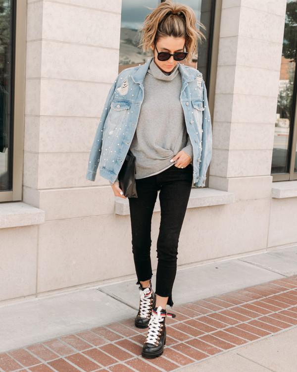6f8f776c24f shoes tumblr boots black boots denim jeans black jeans skinny jeans jacket  denim jacket sweater grey