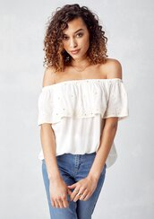 blouse,white blouse,summer top,eyelet top,eyelet,embroidered top,scallop top,scallop detail,off the shoulder,off the shoulder blouse,boho,boho chic,bohemian,summer,modern hippie,eyelet detail,embroidered,white off the shoulder blouse,70s inspired