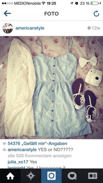 blue dress dress white cardigan white shoes
