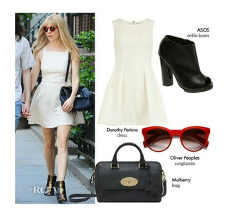 bag dress cream dress skater dress boots ankle boots black black boots black bag sunglasses