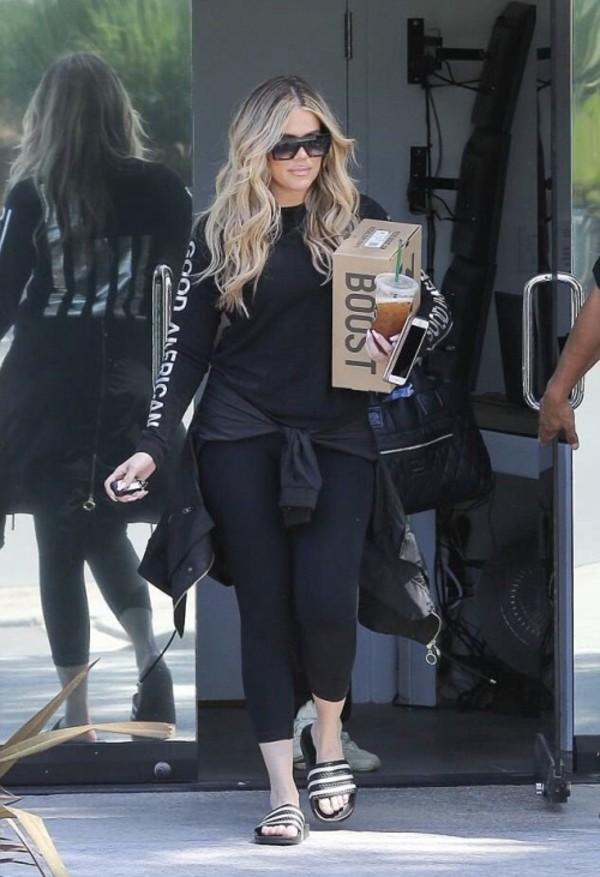 sweater sweatshirt slide shoes khloe kardashian kardashians casual streetstyle