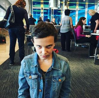 jacket stranger things denim jacket blue jacket millie bobby brown