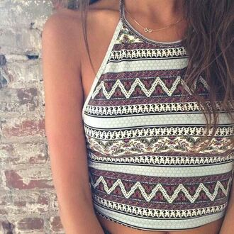shirt halter top cropped tribal printed pattern