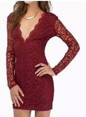 dress,burgundy dress,burgundy lace,lace dress,lace bodycon,plunge v neck,sheer sleeves,long sleeve dress,ustrendy,mini dress,sexy dress,party dress,www.ustrendy.com,v back dress